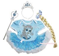 Frozen Rhinestone Princess Elsa Bodysuit Organza Snowflake Baby Dress Costume NB-18M JS3325