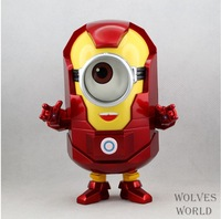 "New Arrived Free Shipping Despicable Me 2 Minion PVC Action Figure Toy Doll Captain America Style 8""20cm  Red"
