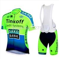 2014 SAXO BANK Cycling Jersey bib kit Short Sleeved bib Shorts Cycling tight ropa Ciclismo fitness clothes bicycle Maillot MTB