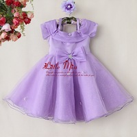 2014 Fashion Gilrs Wedding Dress Purple Lace Top Grade Party Wear With Bow Christmas Kids Clothes GD40814-29