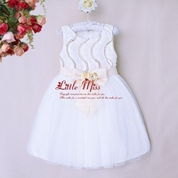 New Design Girl Princess Dress Soild Flower Bow Polyester White Wedding WearFor Kids Party Toddle Clothes GD40814-17