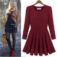 2014 Fashion Plus Size Brief Design Autumn and Winter Dress Slim A-Line Round-neck High Waist Women Dress S-2XL