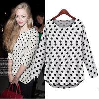 Good Look O-neck Blusas Femininas 2014 Three Quarter Sleeve Casual Shirts Autumn Polka Dots Women Blouse L8835