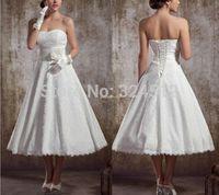 European Fashion A-Line Tea-Length Short Lace Wedding Dress Vestido De Noiva Gown