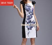 (DEIVE TEGER)Free Shipping 2014  hot sell Print flower Bow  sleeveless  lady Pencl Dress evening dress summer dress DQ257