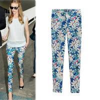 Hot Selling 2014 Slim Pockets Decorated Women Pants Vintage Printed Elastic Waist Autumn Pencil Pants 6313