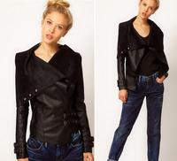 New Punk  Rivet Lapel Blazer Coat Faux Leather Motorcycle Moto Jacket Top