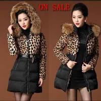 Women Winter Coats 2014 New Brand Fashion Casual Plus Size White duck down Cotton Leopard Long Down Jacket Parkas Fur Collar