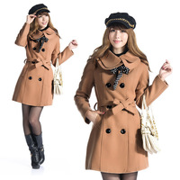 Free shipping!2014  fashion Women's Double-breasted Luxury Winter Wool Coat Long Jacket with belt and scarf