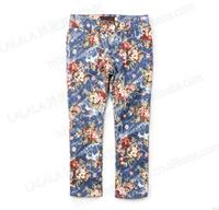 sp25 flower print kids jeans brand 4-10 age girls pants free shipping 5pcs/ lot