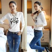 2014 Autumn New Korean YSF t shirt women Print women t-shirt Beading Crew Neck Long Sleeve Slim Casual Tops women clothing