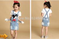 Hot selling !!!New summer fashion  girls dress bow cartoon cowboy Dress