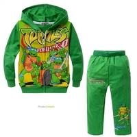 Japan Crtoon Anime Teenage Mutant Ninja Turtles Boy Clothing Set Green Long Sleeve Hoodie+Long Pants TNMT Boys Clothes