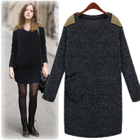 M-4XL 2014 Woman Plus size Autumn Fashion Knitted Sweater Dress Wool V-neck Epaulet Pullovers Straight Casual Dress