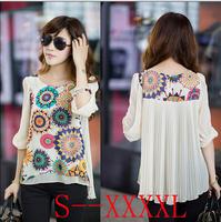 Summer women blouse super good texture, back pleats, large size, retro print chiffon shirt 2014 new