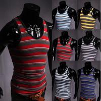 free shipping The 2014 Summer Black hit color fashionable men stripe vest