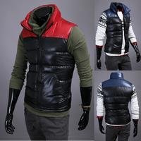 2014 winter mixed colors Slim collar men's warm down vest 2 color 4 size