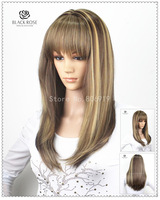 sexy naruto anime cosplay wigs light brown long wigs synthetic kinky straight wigs with hair bangs beauty products free shipping