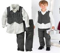 5set/lot wholesale boy kids long sleeve shirt vest pants 3pcs set ,gentleman set full sleeve child clothes