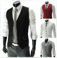 Free delivery 2014 new men's business casual pocket zipper slim vest