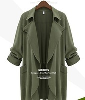 2014 Autunm New European Street Fashion Women's Trench Enlarge Size Cotton Overcoat Trendy Cardigan For Female Clothing