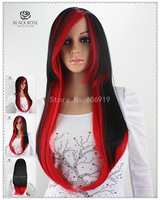 Anime cosplay wig two tone Black red long sexy synthetic wigs with hair bangs  kinky straight teal wig free shipping