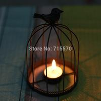 Free shipping  hot black  color wedding  decoration  birdcage iron  candle holder for tea light