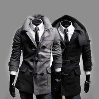 Men's Shake Off Hoody Tweed Coat Jackets Slim Fit OutCoat Overcoat Trench 2 Colors 4 Sizes