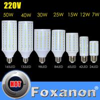 Foxanon Brand 220V 110V 127V E27 E14 Cree 5730 5630 LED light 9W 12W 15W 25W 30W 40W 50W  Led Lamp Corn lighting Bulb 1pcs/Lot