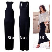 Wholesale Black Fashion Womens Ladies Long Maxi Dress Evening Dresses Sleeveless Vest Dresses Sexy Uk 8 10 M  Uk 12 14 L ST02A43