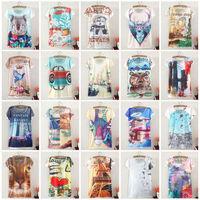Vintage Harajuku Fashion Summer 2014 Digital Print Short Sleeve T Shirt Women T-Shirt Clothing Cotton Print Tee Blouse Tops S02