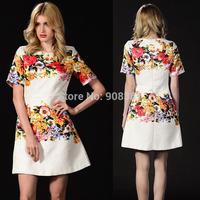 2014 Autumn New dress European Branded Cute 3D painting Positioning Heavy jacquard print Flower dress women XL