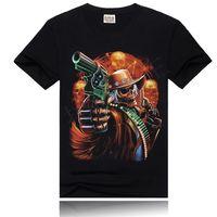 2014 Black Mens Digital 3D Printed Shorts Sleeve Cotton T Shirts Skeleton Print T-shirt Hip Hop Blouses Tops Large Size ST02B17