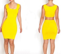 New Fashion 2014 Summer Sleeveless Dress Women O-Neck Casual Dress Yellow  Black Plus Size S L M Bandage Dress