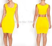 New Fashion 2015 Summer Sleeveless Dress Women O-Neck Casual Dress Yellow  Black Plus Size S L M Bandage Dress
