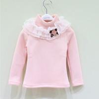 new 2014 children girl autumn winter blue pink fuchsia lace ruffle long sleeve fleece t-shirt kids girl causal t shirts top