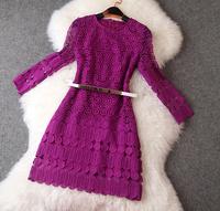 New arrival 2014 ladies women's full water soluble flower purple lace long-sleeve dress with belt purple dress