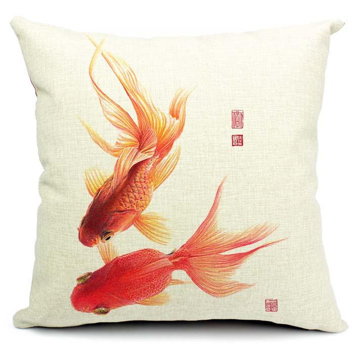 Goldfish Cushion Cover Chinese Style Throw Cushion Cover Office Car Sofa Waist Cover 45*45cm(China (Mainland))