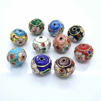 10 PCS Mixed Colors Chinese Lantern Shape Gold Wire Inlay Flower Pattern Cloisonne Beads 10*12mm