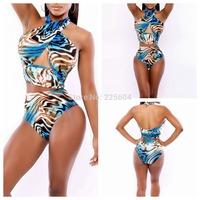 2014 Women Swimwear Vintage Bandage Bodycon Swimsuit Leopard High Waist Girl triangle Bikini brazilian Bikinis Set Bathing Suits