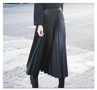 [TM35] Autumn New 2014 Fashion Women High Waist Black PU Faux Leather Maxi Skirt Vintage Long Pleated Skirt Fast Shipping