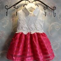 Free shipping 2014 Retail Super temperament hit color small dress dress Kids Girls New Summer
