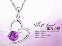 2014 new fashion heart-shaped amethyst necklace, fashion jewelry necklace pendant jewelry women