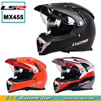 New LS2 motorcycle helmet MX455 dual lens professional off-road dirt bike helmet full face helmet safety adjustable airbags