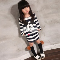 Korean kids clothes Fashion girls mickey cartoon t-shirt Fall long-sleeve black white striped long-design tees