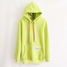New Women Long Sweats Hoodies Roupas Femininas Coat Hooded Vestidos Pur Color Yellow With Big Pocket Letters Print on The Pocket(China (Mainland))