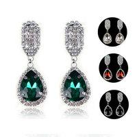 2014 European Popular Rhinestone Water-drop Earrings Trendy 5 Color Women's Crystal Drop Earring L0802