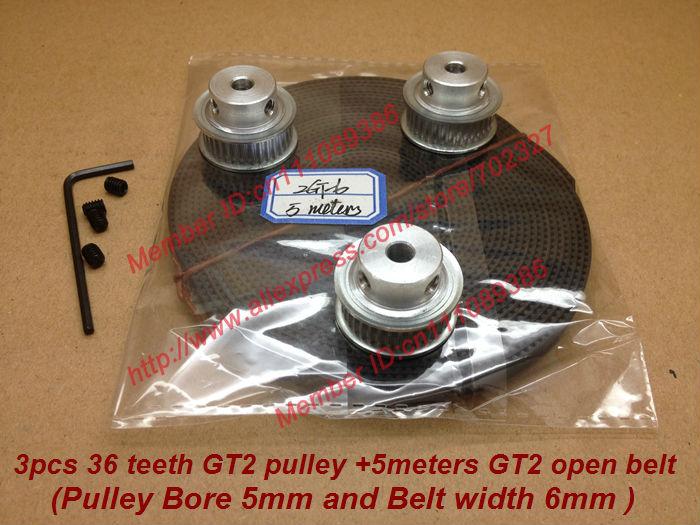 Freeshipping 3pcs 36 dentes GT2 temporização 5 milímetros Diâmetro da polia e correia dentada 3M GT2 largura 6 milímetros 2GT Belt 3D RepRap Prusa Mendel impressora(China (Mainland))