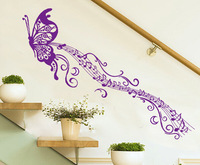 music purple butterfly wall sticker refrigerator kitchen cabinet wall stickers tile furniture glass stickers