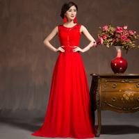 2014 evening dress the bride married double-shoulder spaghetti strap formal dress long design red fashion slim elegant